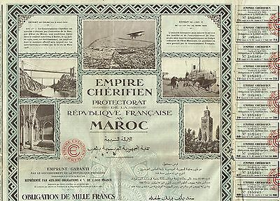 AFRICA FRENCH MOROCCO BOND stock certificate 1000 FRANCS 1930
