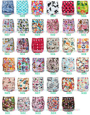 NEW BABY Infant One Size Multicolor Printed Cloth Nappies Pocket Diapers Inserts