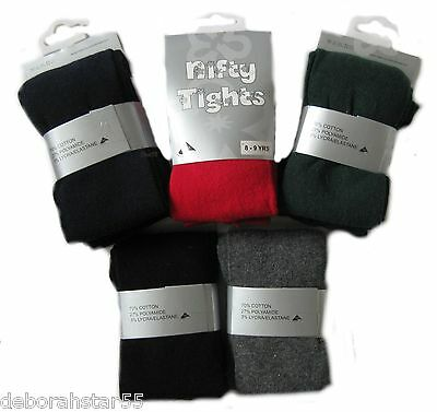 Girls Tights 6 PAIRS Girls Black Grey Navy Red School Knitted Tights 3-12 yr X 6