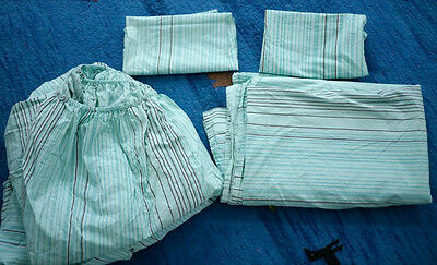 TARGET Home Teal Brown Stripe 100% Cotton FULL Fitted, Flat Sheet Pillowcase Set