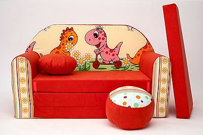 Kids Sofa Bed Childs Furniture + Free Pouffe / Footstool & Pillow