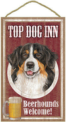 "Top Dog Inn Beerhounds Bernese Mountain Dog Bar Sign Plaque dog  10"" x 16""  Beer"