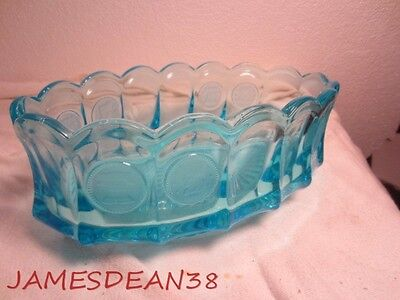 "Blue Fostoria Coin Glass 9"" Oval Bowl"