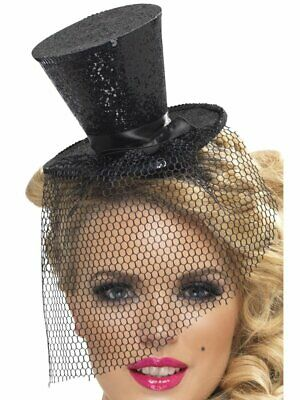 1920s Fever Mini Top Hat Black Halloween Fancy Dress Costume Accessory