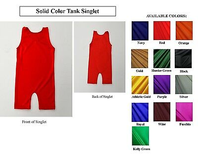 Youth Solid Color Spandex Tank Style Wrestling Singlet Sz 4,6,8,10,12 Nwot