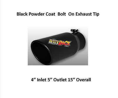 """Brand New Flat Black Exhaust Tip 4"""" IN 5"""" Out 15"""" Long HI-Temp Powder Coat"""