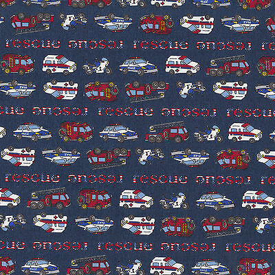 Police Cars Ambulance Fire Engine Truck Rescue Boys Kids Quilt Fabric FQ NEW