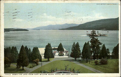 Lake George NY View from Fort William Henry Hotel Detroit Pub c1910 Postcard