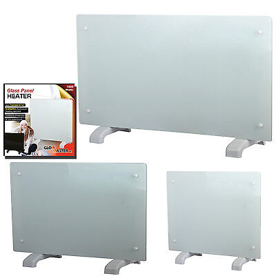 Glowmaster White Glass Free Standing Wall Mounted Portable Electric Panel Heater