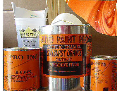 Sunburst orange metalic kit acrylic enamel single stage restoration auto paint