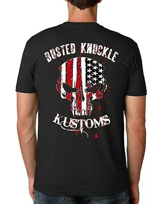 47a13d30bf7 American Flag SKULL SS T shirt Biker Hot Rod Chopper style Motorcycle  Machanic