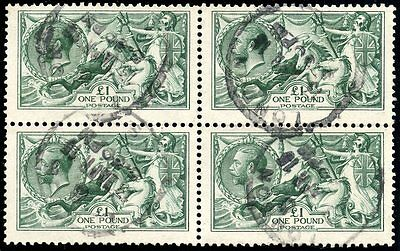 Very rare 1913 Waterlow £1 deep dull blue-green used block of  4..SG 404