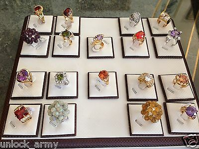 Brown Magnetic Jewelry Rings Display show Case Stands Tray Holder for 18 Ring