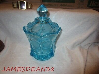 Blue Fostoria Coin Candy Cigarette Dish Covered