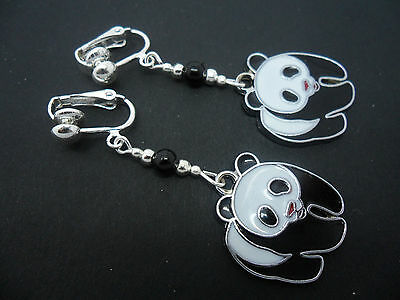 A Pair Of Cute Black And White Enamel Panda Bear  Clip On Earrings. New.