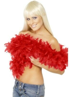 20s 20's Fancy Dress Smiffys Deluxe Feather Boa Hen Party Red 2 Yds New