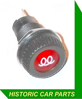 """DIESEL PRE HEAT"" Warning Light Large with white Icon 1"" 25mm dia 12v 2w"
