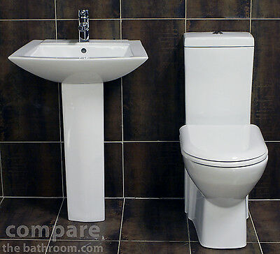 Modern Square Designer Style Basin Sink + Toilet Set Bathroom Suite Soft Close