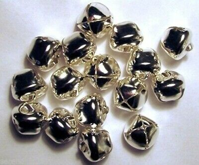 "LOT 50  Shiny SILVER JINGLE BELLS ~ 20mm (3/4"") ~ Metal Craft Holiday Bells"