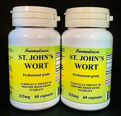 St. John's Wort, depression anxiety aid, Made in USA -  120 (2x60) capsules