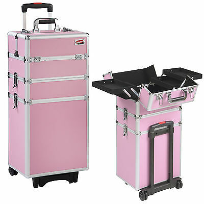 Beautify 4-in-1 Pink Cosmetics Beauty Trolley Hairdressing Vanity Case Box