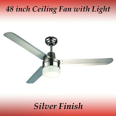 Sparky 48 inch 3 Blade Silver Stainless Steel Ceiling Fan with Light