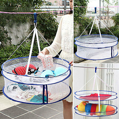 New Double Layer Laundry Clothes Sweater Dryer Rack Hanger Hanging Mesh Basket