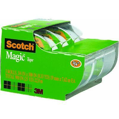 "6 Pk 3M 3/4"" X 300"" Clear Scotch Magic Transparent Tape 3/Pk W/Dispenser 3105"