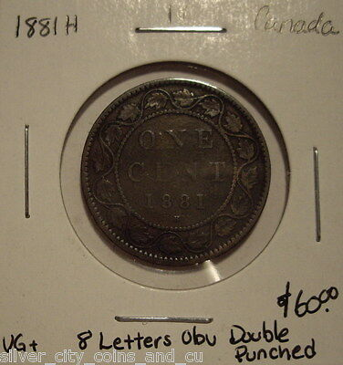 """Canada Victoria 1881H """"Doubled 8 Letters Obv"""" Large Cent - VG+"""