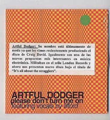 ARTFUL DODGER Cd Maxi PLEASE DONT TURN ME ON 2000