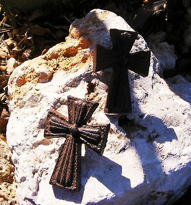 Cast Iron Mini Cross Nail Set of 2 Christian Crucifix Country Rustic Craft  #110