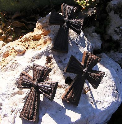 Cast Iron Mini Cross Nail Set of 3 Christian Crucifix Country Rustic Craft  #110