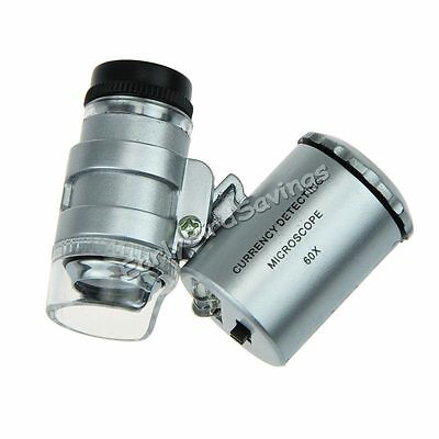 60X Pocket Microscope Jeweler Magnifier LED Loupe Eye mini coin Watch Loupe tiny