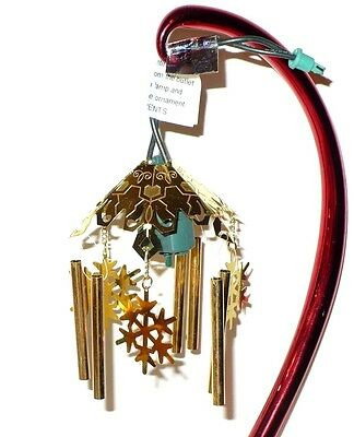 VINTAGE NOMA ORNAMOTION ORNAMENT HANGER WITH GOLDEN CHIMES AND SNOWFLAKES VGC