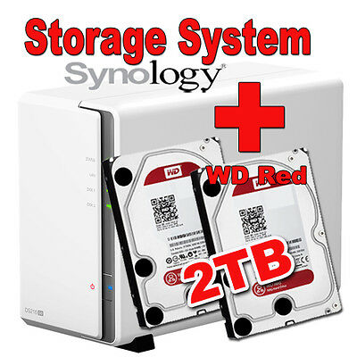 2TB (2x1TB) WD Red Synology DS216se Disk Station Gigabit NAS Filme MP3