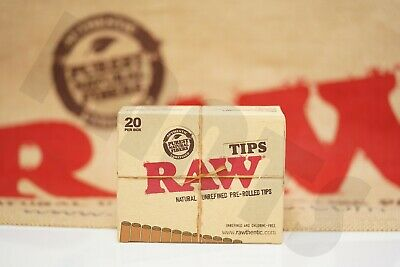 Full Box 20 Packs(21 Per Pack, 63 Tips) Authentic Raw Unrefined Pre-Rolled Tips