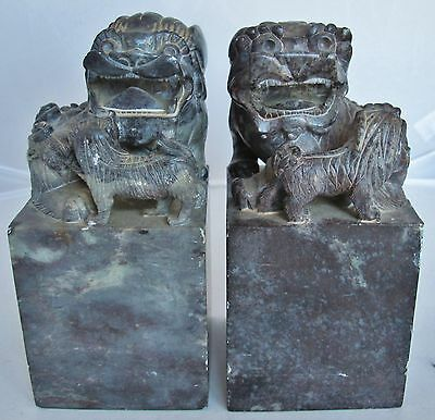 """Antique ? Pair of Chinese Hand Carved Soapstone FOO DOG Chop Seals (6.7"""" x 3.6"""")"""
