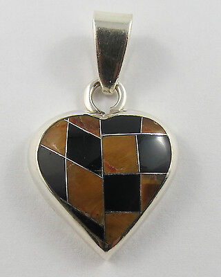 Pe-106 Mexican 950 Silver Onyx And Tigers Eye Heart Pendant. See Pictures