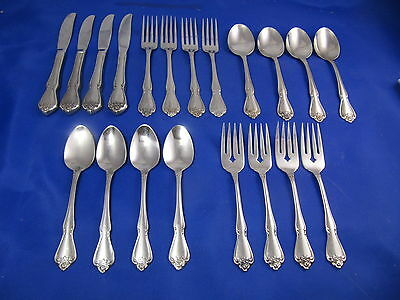 "20 pcs Oneida Rogers ARBOR ROSE/TRUE ROSE Stainless Flatware ""Service For 4"""