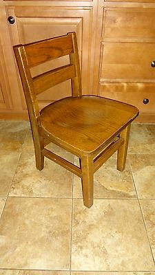 """Vintage 14"""" KIDS CHILD Solid Wood Wooden Library School Play Student Chair Study"""