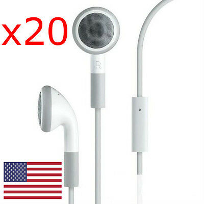 Lot of 20 Wholesale Earphone Headphone w/ Mic for iPhone 4 4s 5 3G 3GS iPod