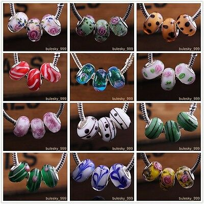 10pcs Glass Loose Spacer Murano Lampwork Beads Fit European Charm Bracelet