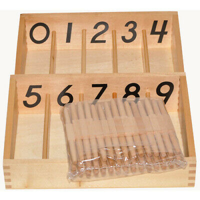 MONTESSORI Wooden SPINDLE Box 45 SPINDLES MATHEMATICS & COUNTING Educational Toy