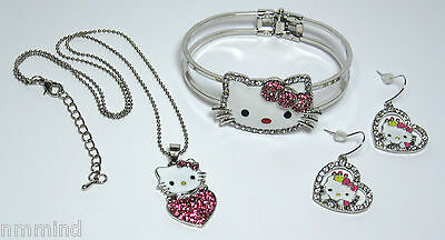 Hello Kitty Pink White Crystal Rhinestone Silver Necklace Earrings Bracelet Set