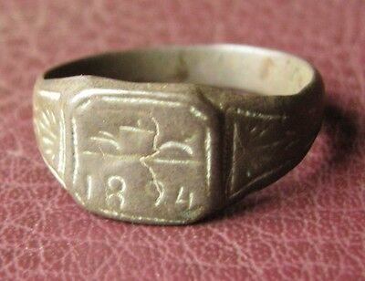 Antique Artifact   Bronze RING   dated 1894  Sz: 10 1/4 US 20mm 11433