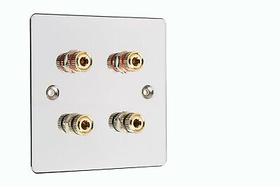 Flat Plate 4 Post Speaker Wall Face Plate Mirror Chrome Binding Posts Audio