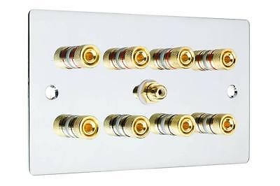 Flat Plate 4.1 Speaker Wall Face Plate Mirror Chrome Binding Posts Audio RCA