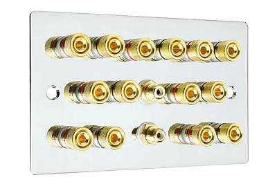Flat Plate 7.2 Speaker Wall Face Plate Mirror Chrome Binding Posts Audio RCA