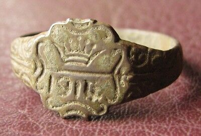 Antique Artifact   Bronze RING   dated 1914  Sz: 12 1/2 US 21.75mm 11443