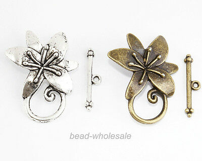 4 Sets Antique Silver/Bronze Tone Zinc Alloy Flower Toggle & Clasp Findings
